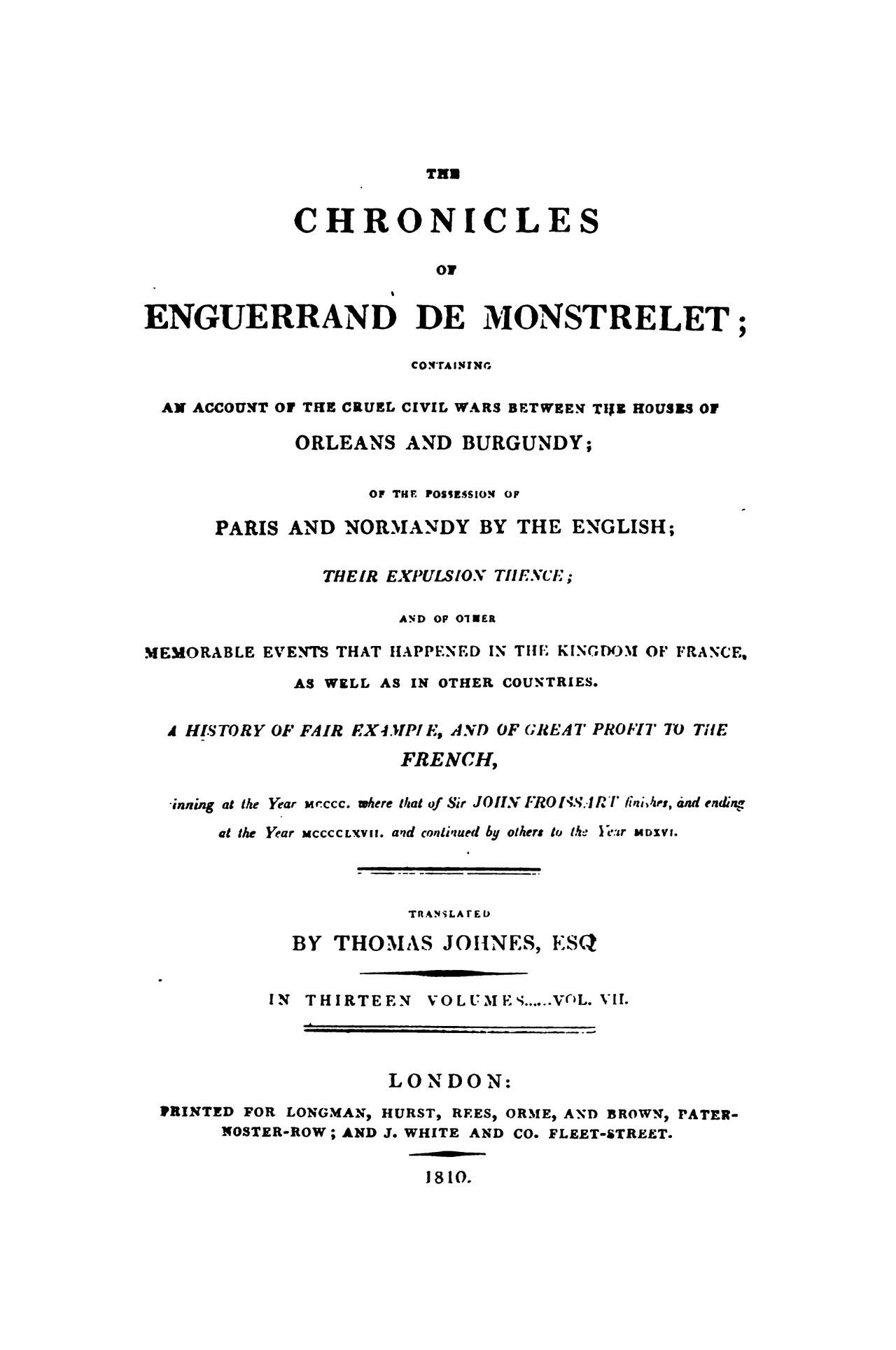Enguerrand de Monstrelet chronicle vol.7