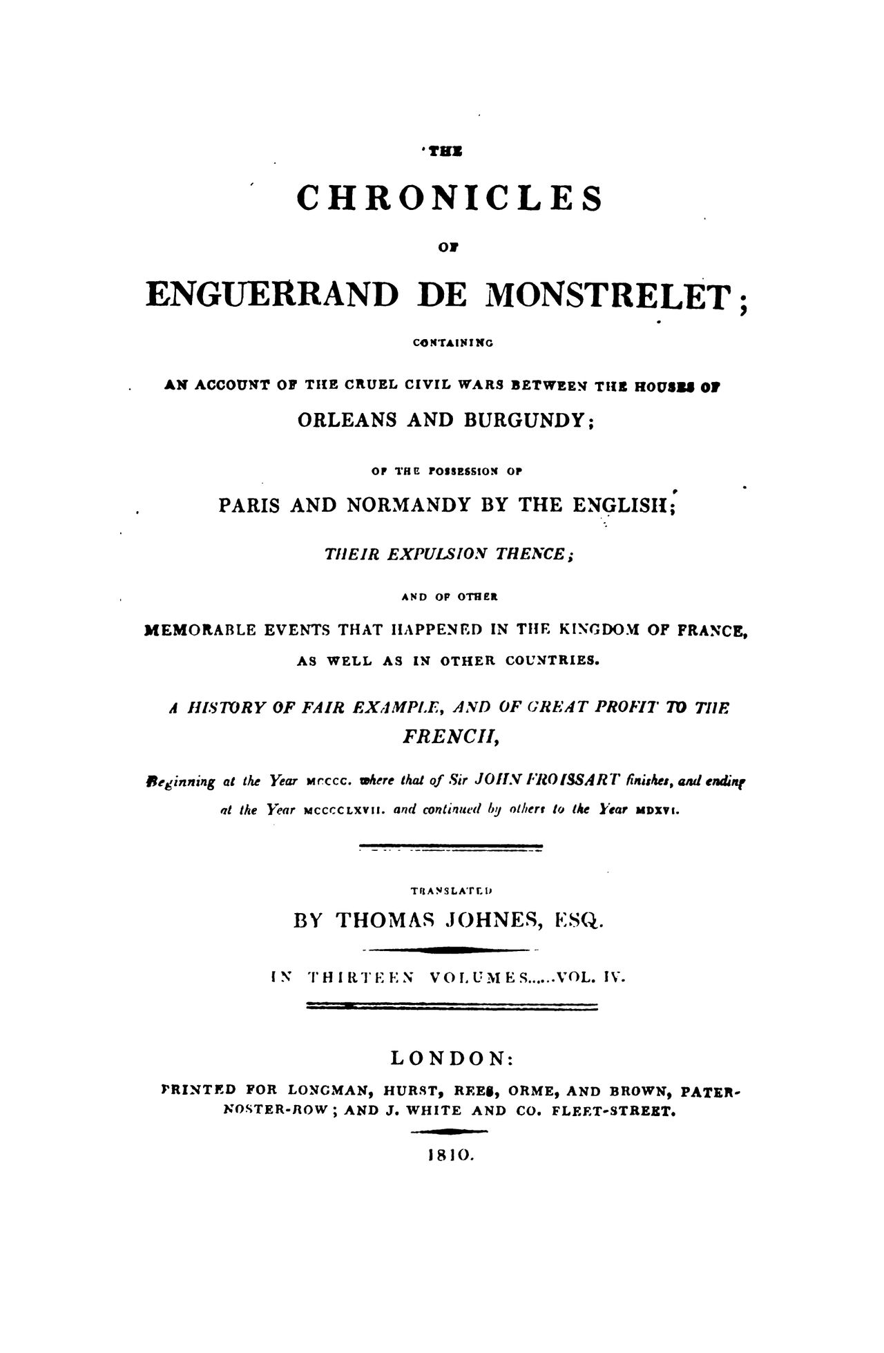 Enguerrand de Monstrelet chronicle vol.4