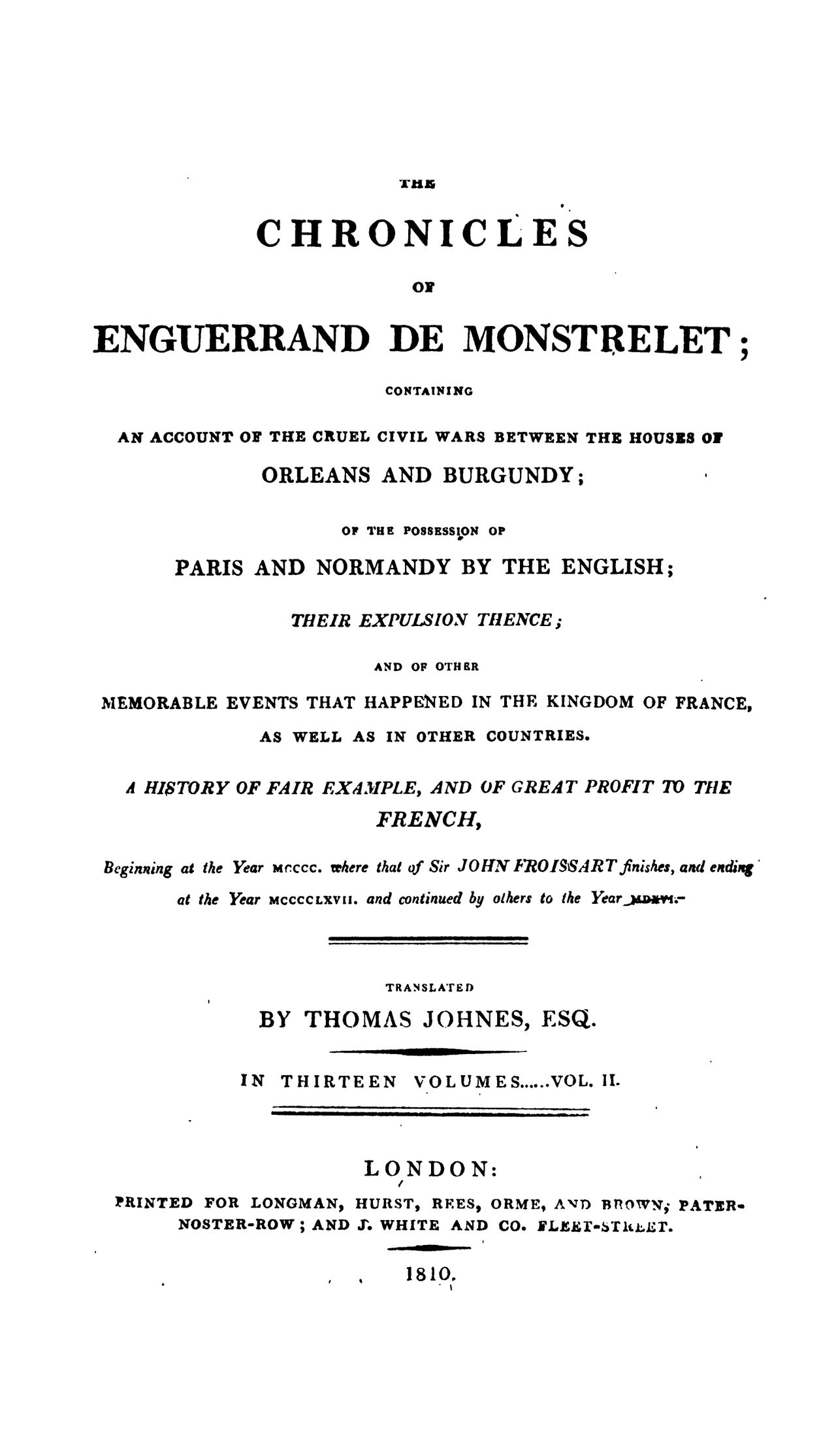Enguerrand de Monstrelet chronicle v. 2