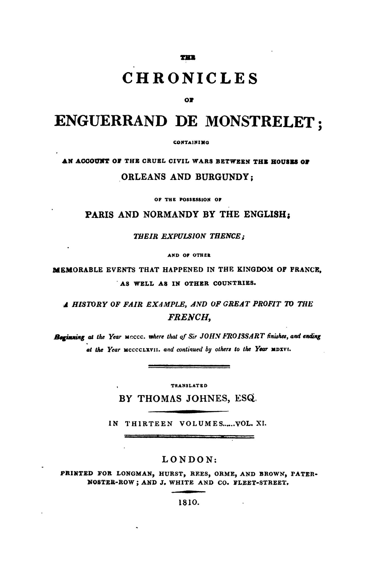 Enguerrand de Monstrelet chronicle vol.11