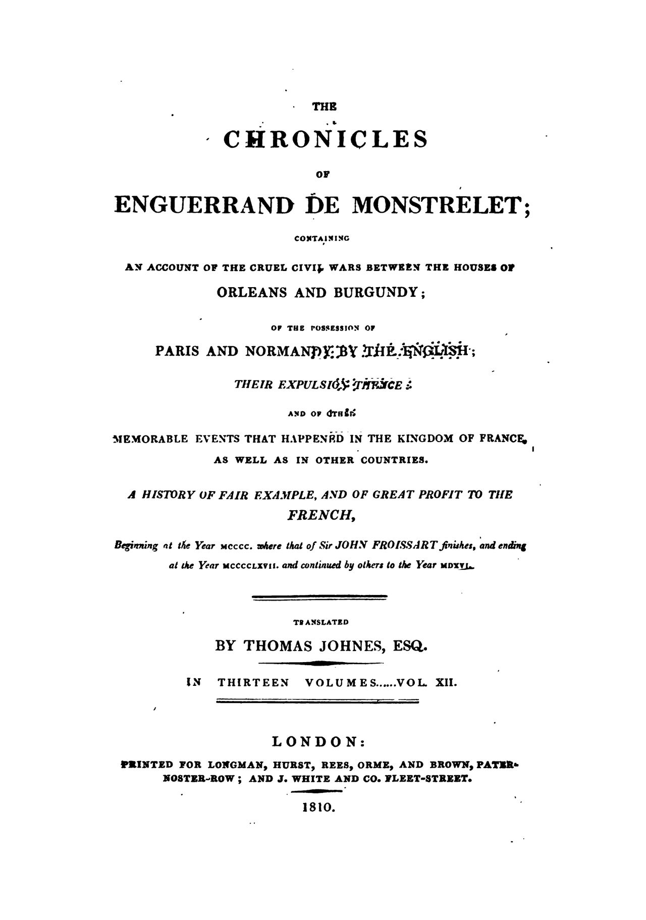 Enguerrand de Monstrelet chronicle vol.12
