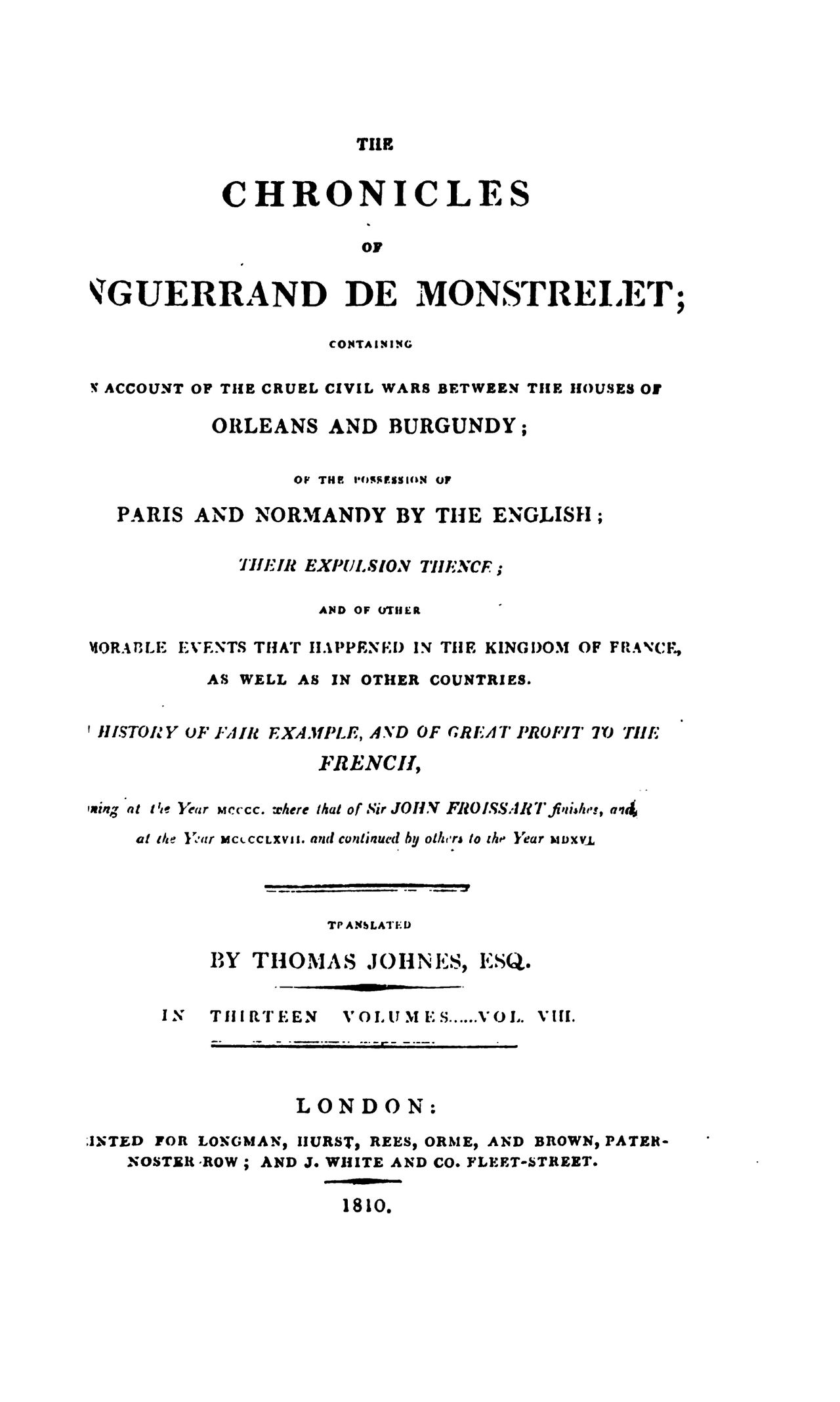 Enguerrand de Monstrelet chronicle vol.8