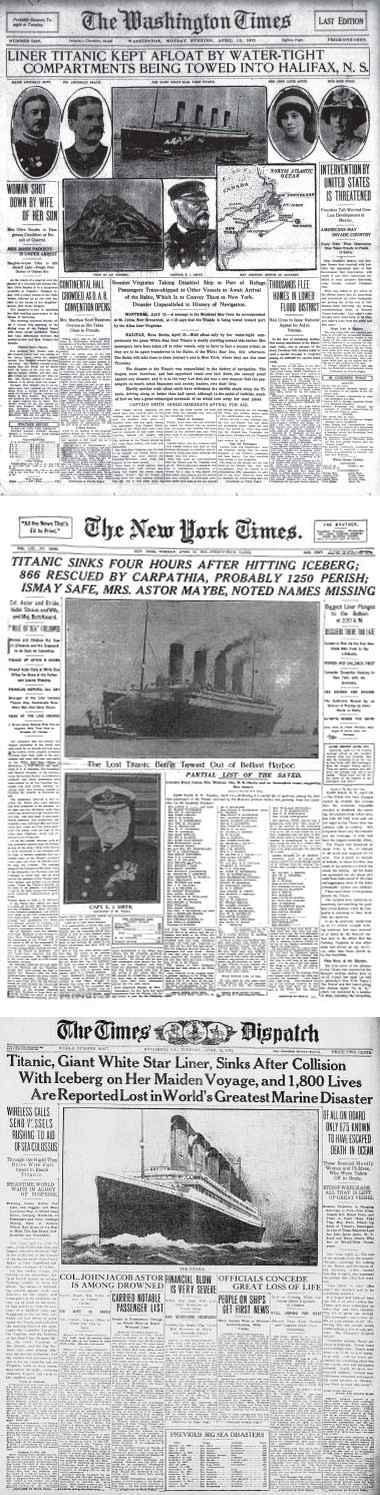 Titanic Disaster Newspapers April 1 - April 19, 1912