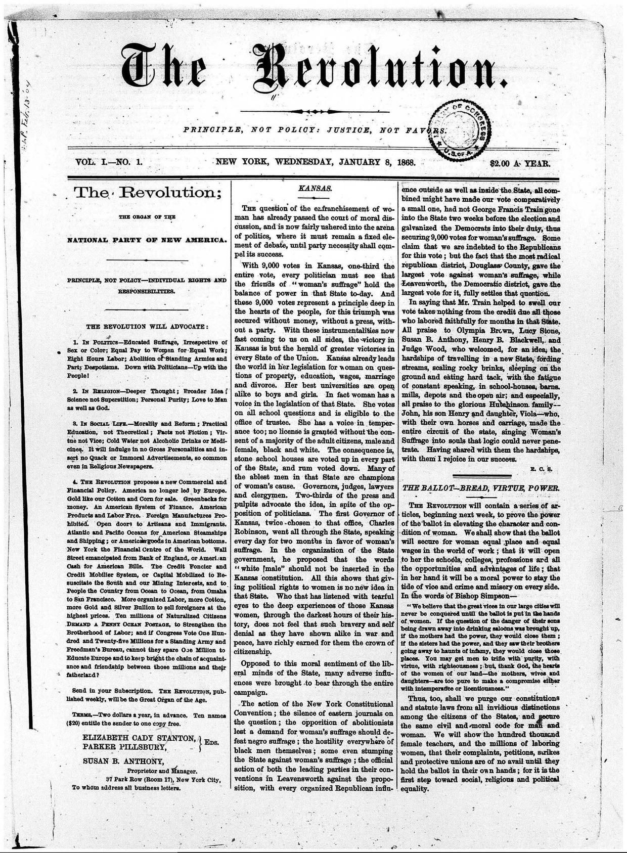 Susan B. Anthony Suffrage/Women's Rights Newspaper:  The Revolution (1868-1872) - Download