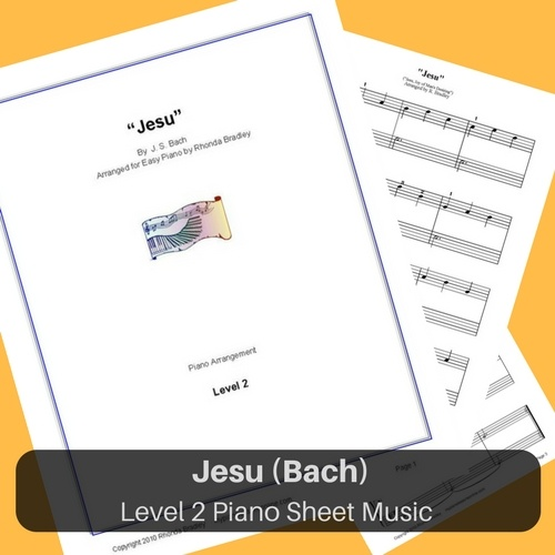 Jesu easy piano sheet music Bach level 2