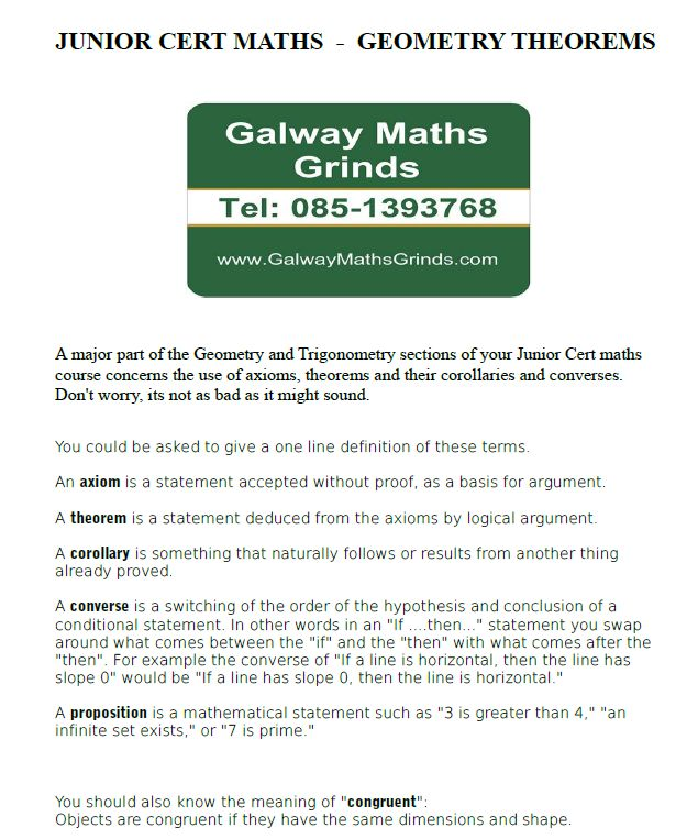 Junior Cert Maths - Geometry Theorems