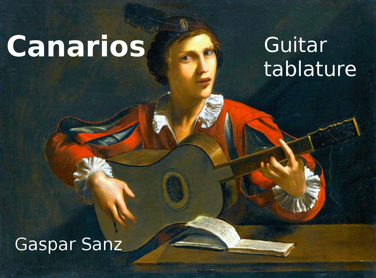 Canarios by Gaspar Sanz  - Tablature for classical guitar