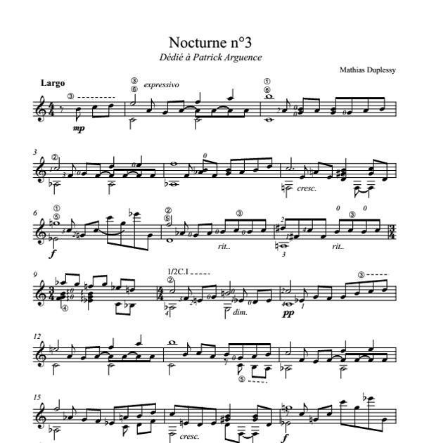 Nocturne n°3 - Score / Partition