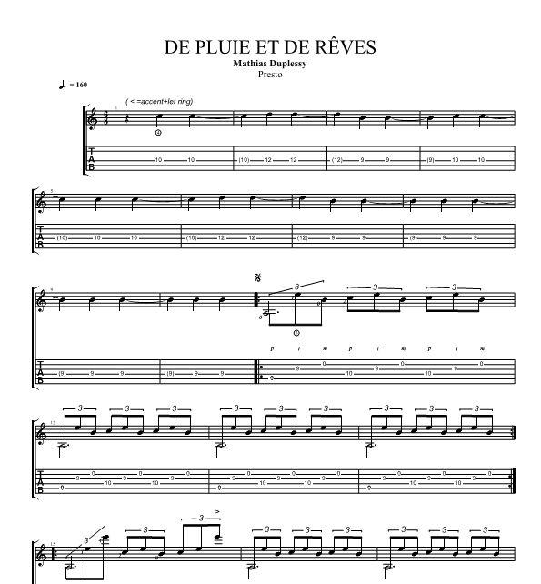 De Pluie et de Rêves - Score / Partition + Tabs