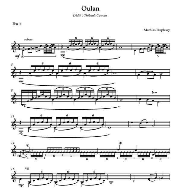Oulan - Score / Partition
