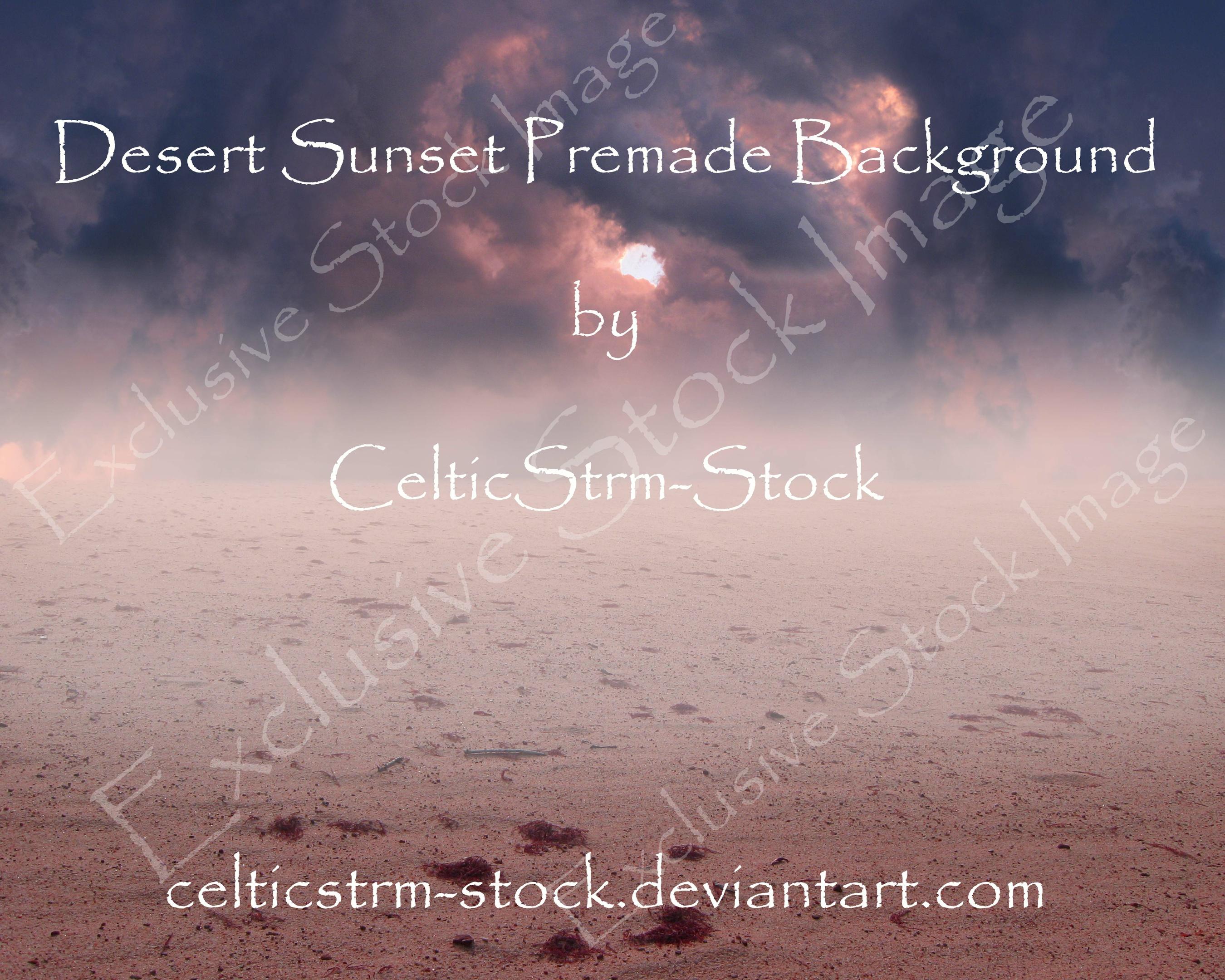 Desert Sunset Premade Background Stock Photo