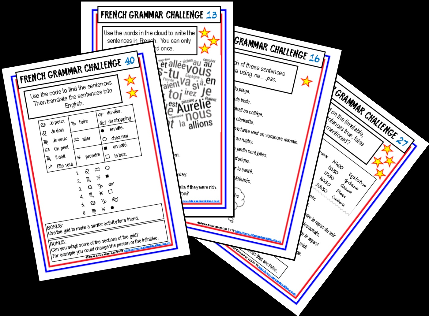 French Grammar Challenge Cards