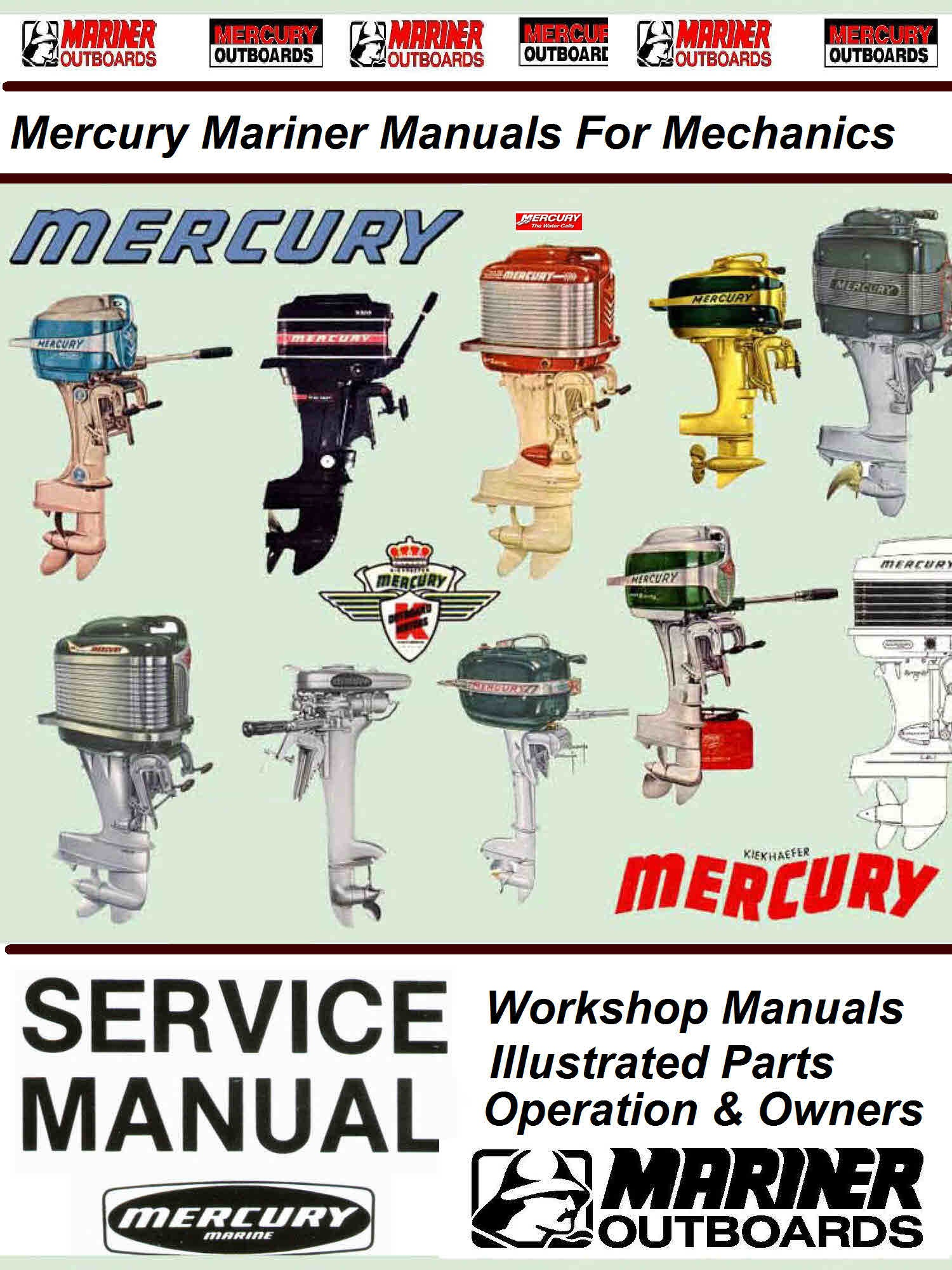 Mercury & Mariner Vintage Service Manuals for MechanicsLarge collection of  Mercury Mariner Workshop Service ManualsIllustrated parts Manuals &  Operator ...