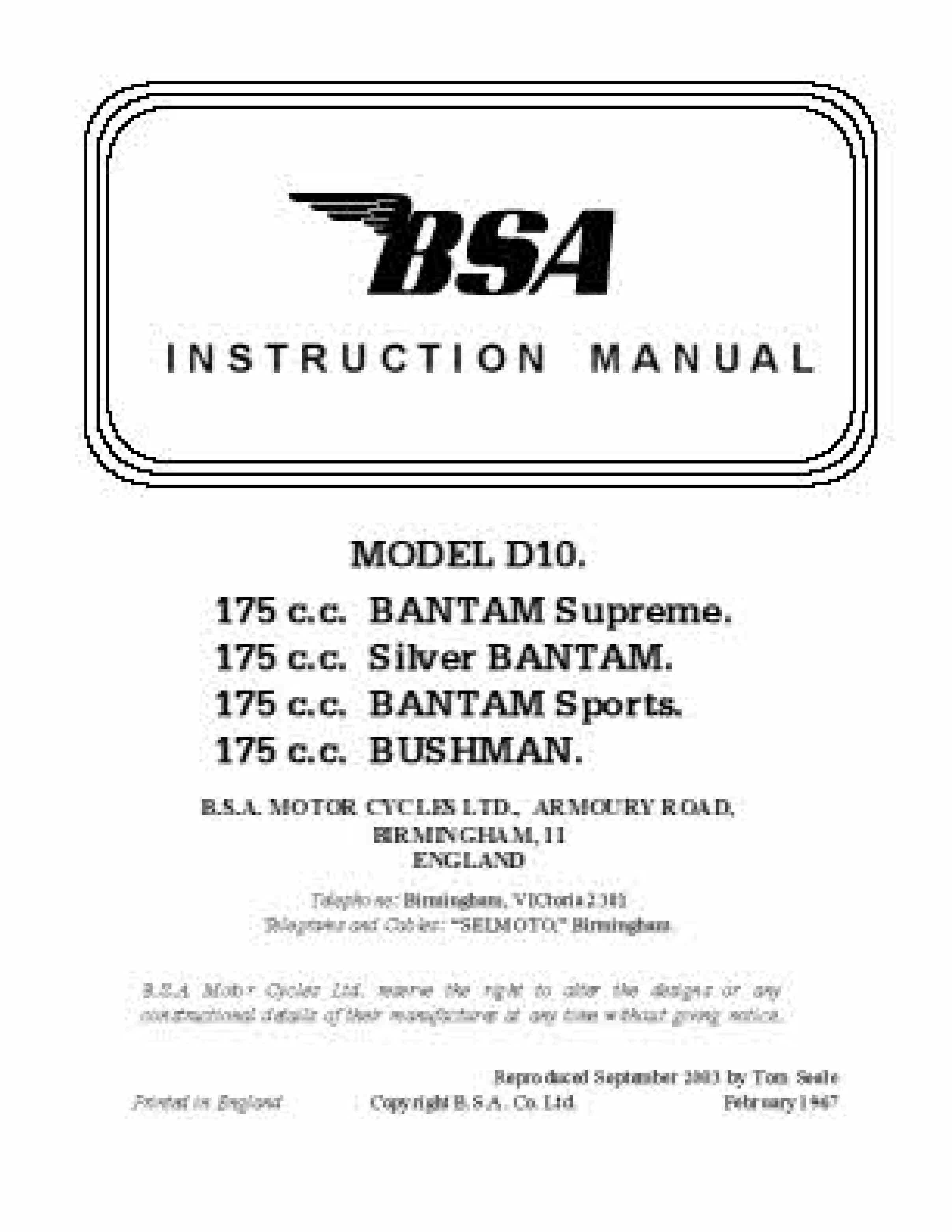 BSA Bantam Manuals Archive