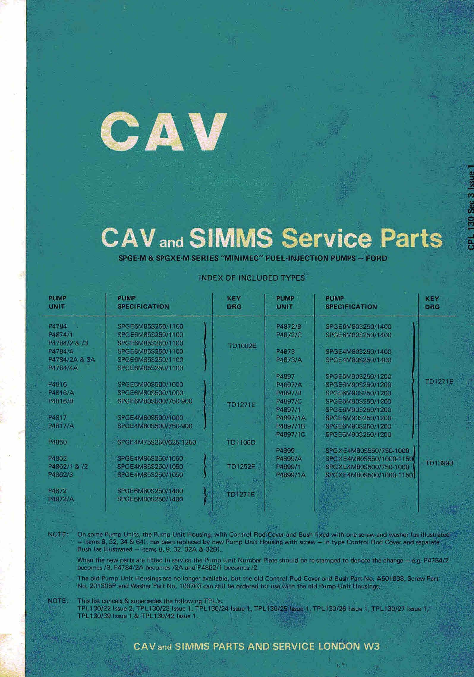Cav Simms Spge M Spgxe Inimec Injectors Ford Part Parts Diagrams Manual