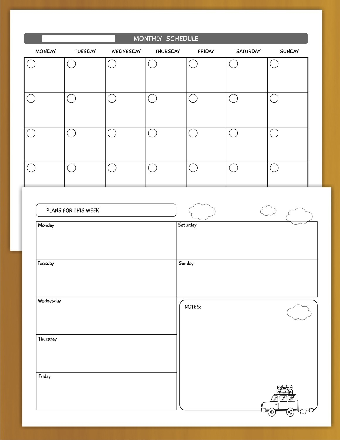 Weekly and Monthly Calendar Planners