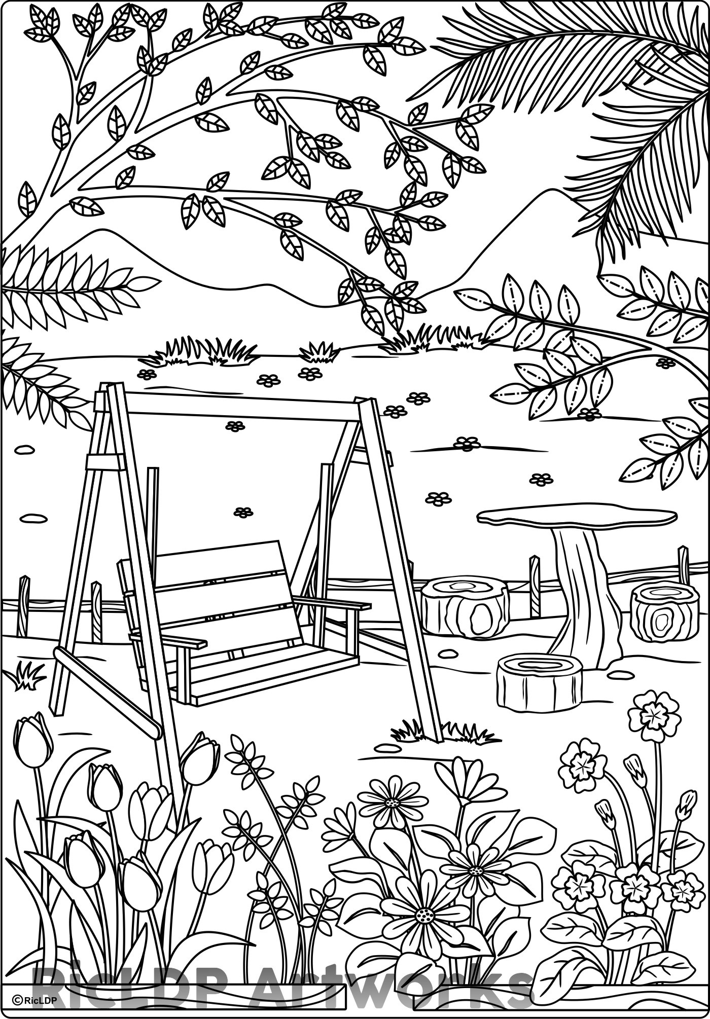At the Park Coloring Page for Adults