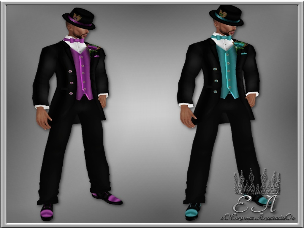Purple and Teal Tuxedo Collection Catty Only!!!!