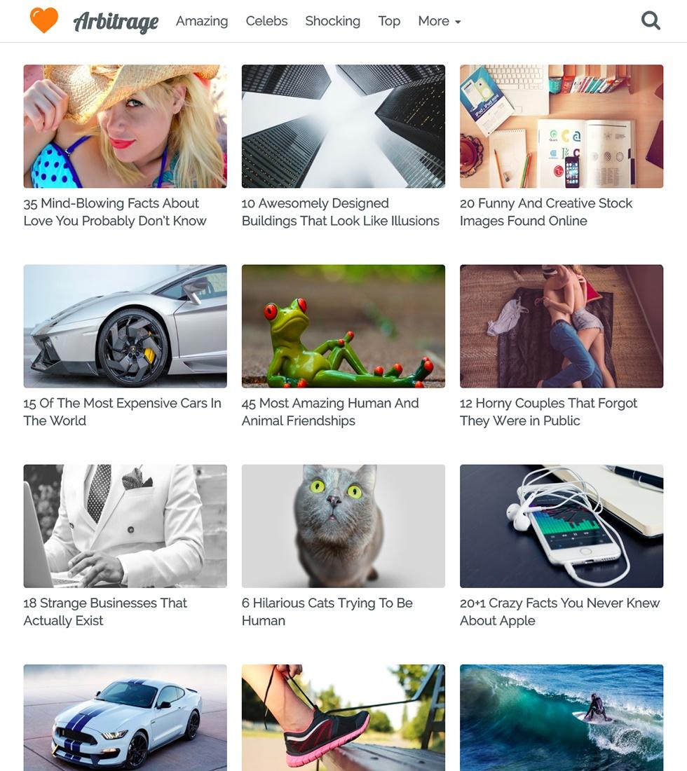 Arbitrage WordPress Theme - The Ultimate Native Ad Arbitrage WordPress Theme