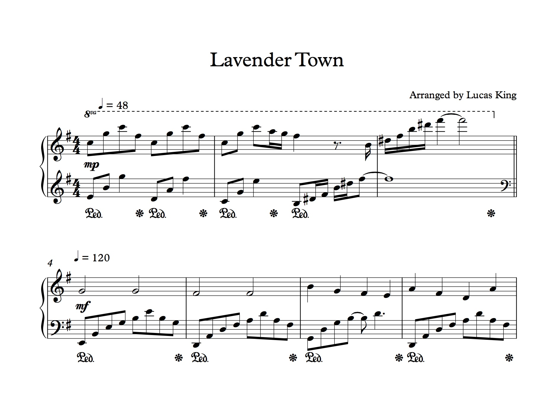 Lavender Town Sad Version Sheet Music