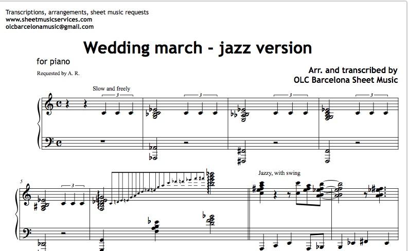Wedding March Jazz Version Sheet Music