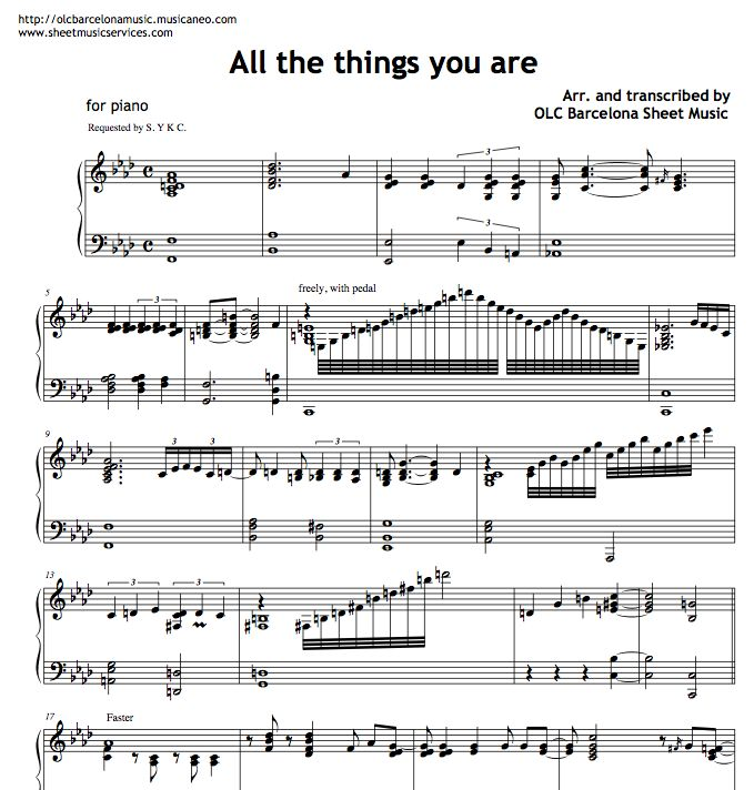 All the things you are - sheet music (piano jazz arran