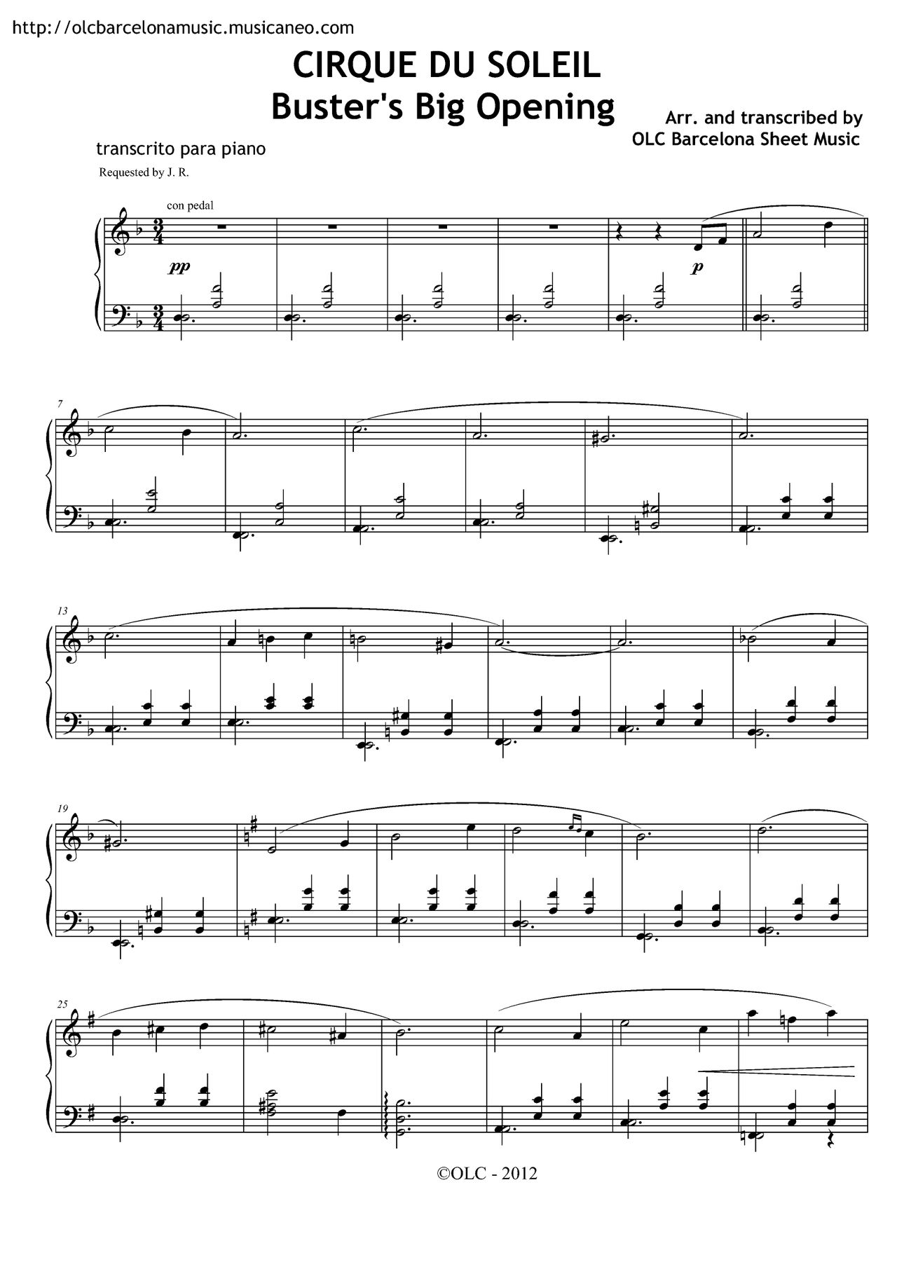 """Cirque du soleil """"Big Buster's Opening"""" sheet music for piano"""