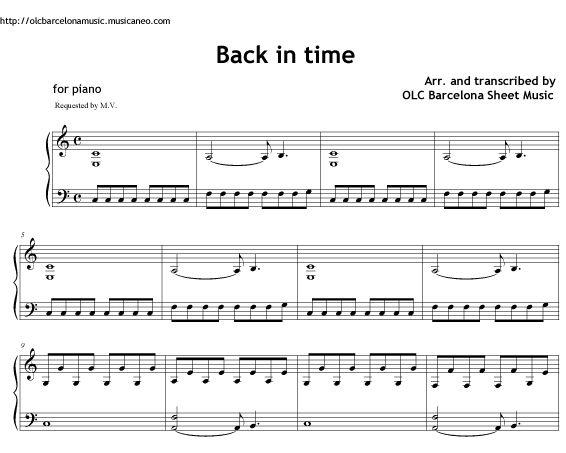 Back in Time (Men in Black 3 theme - Pitbull) sheet music for piano