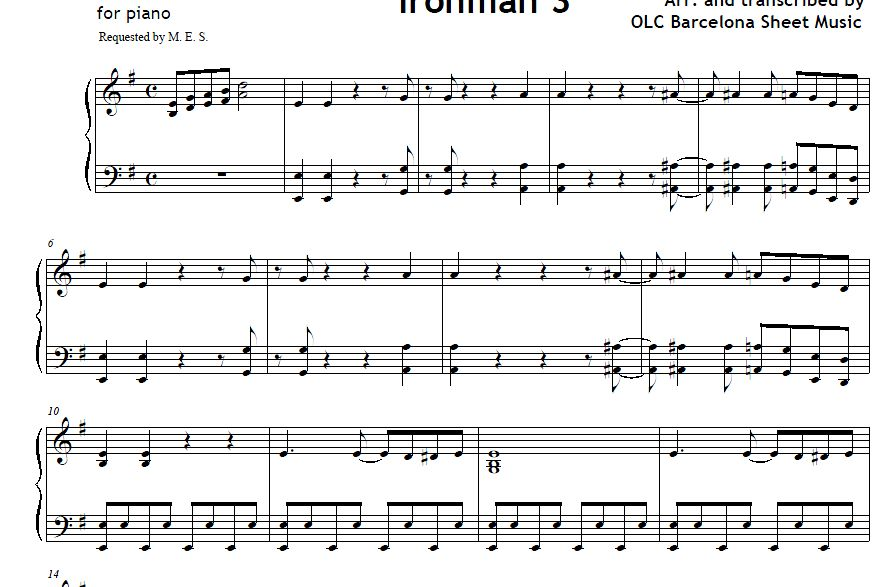 Can you dig it (Ironman 3) piano arrangement sheet mus