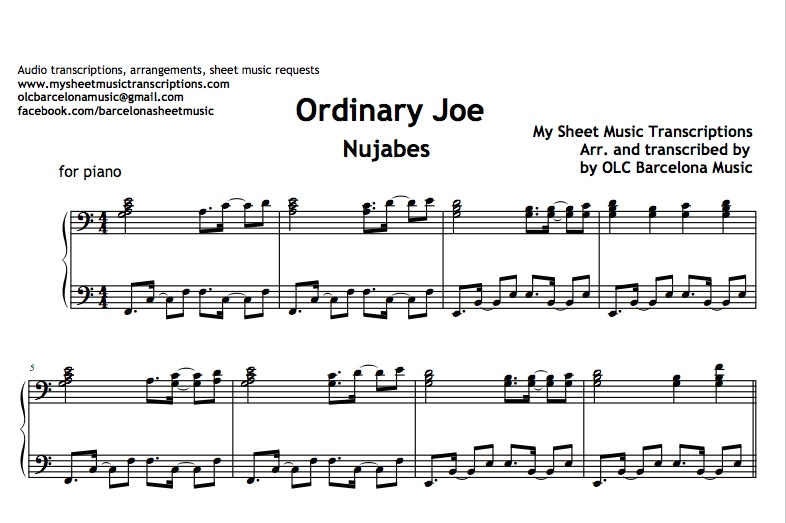 Ordinary Joe (Nujabes) Sheet Music Transcription