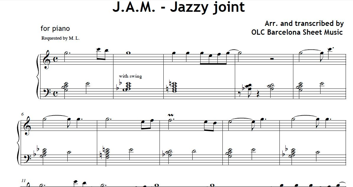Jazzy Joint (JAM - Just a Maestro) - sheet music for piano