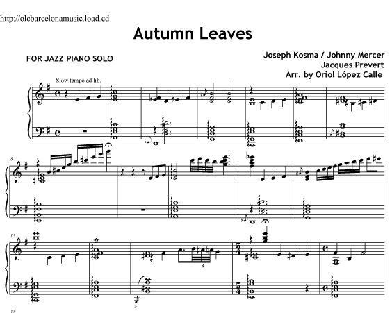 Autumn Leaves Piano Jazz Sheet Music Pdf