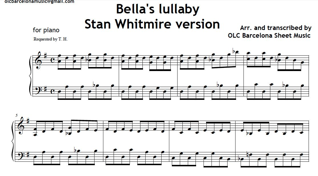 Bella s Lullaby - Carter Burwell - Free Piano Sheet Music