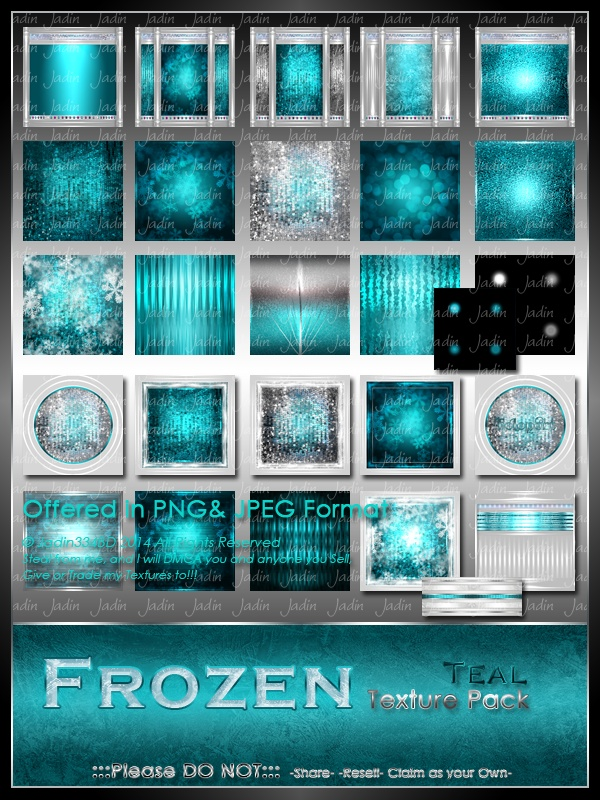 Frozen: Teal Texture Pack-- $4.00