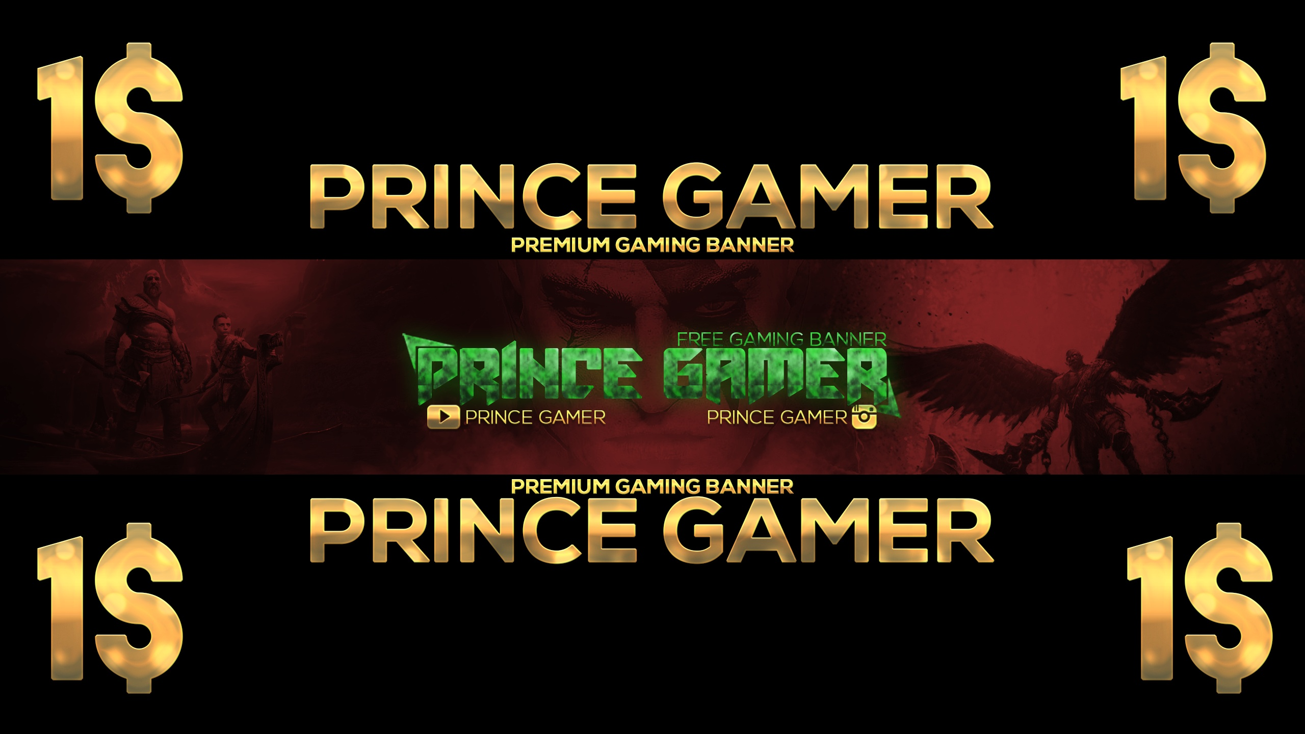 Prince Gamer Premium Gaming Banner PSD GOD Of WARS 1$