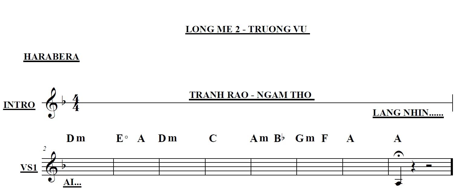 Band Sheet -  Long Me 2  - Truong Vu- Key: Fm