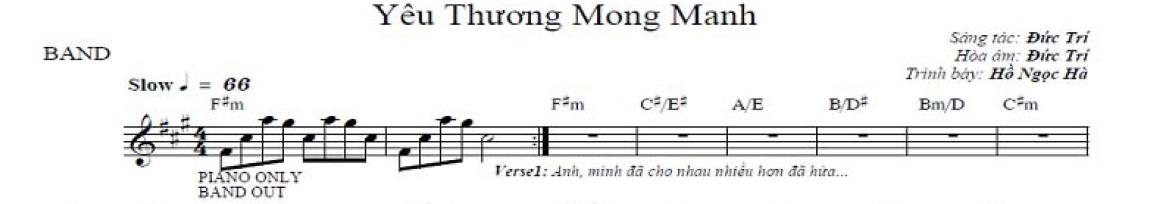 Band Sheet -  Yeu Thuong Mong Manh  - Ho Ngoc Ha- Key: F#m