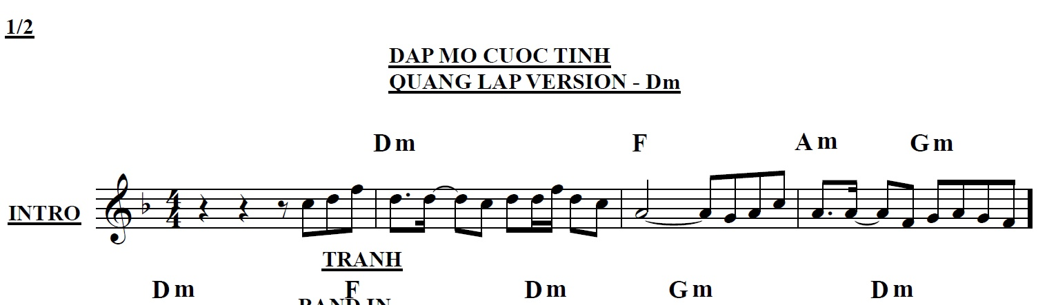 Band Sheet -  Dap Mo Cuoc Tinh - Quang Lap- Key: Dm