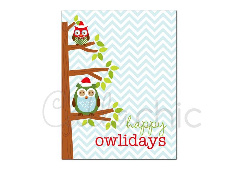 Owl Christmas Card Printable Cute On Branch In L