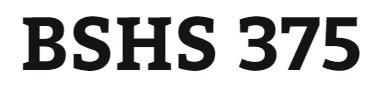 BSHS 375 Week 2 Database Demographic Information