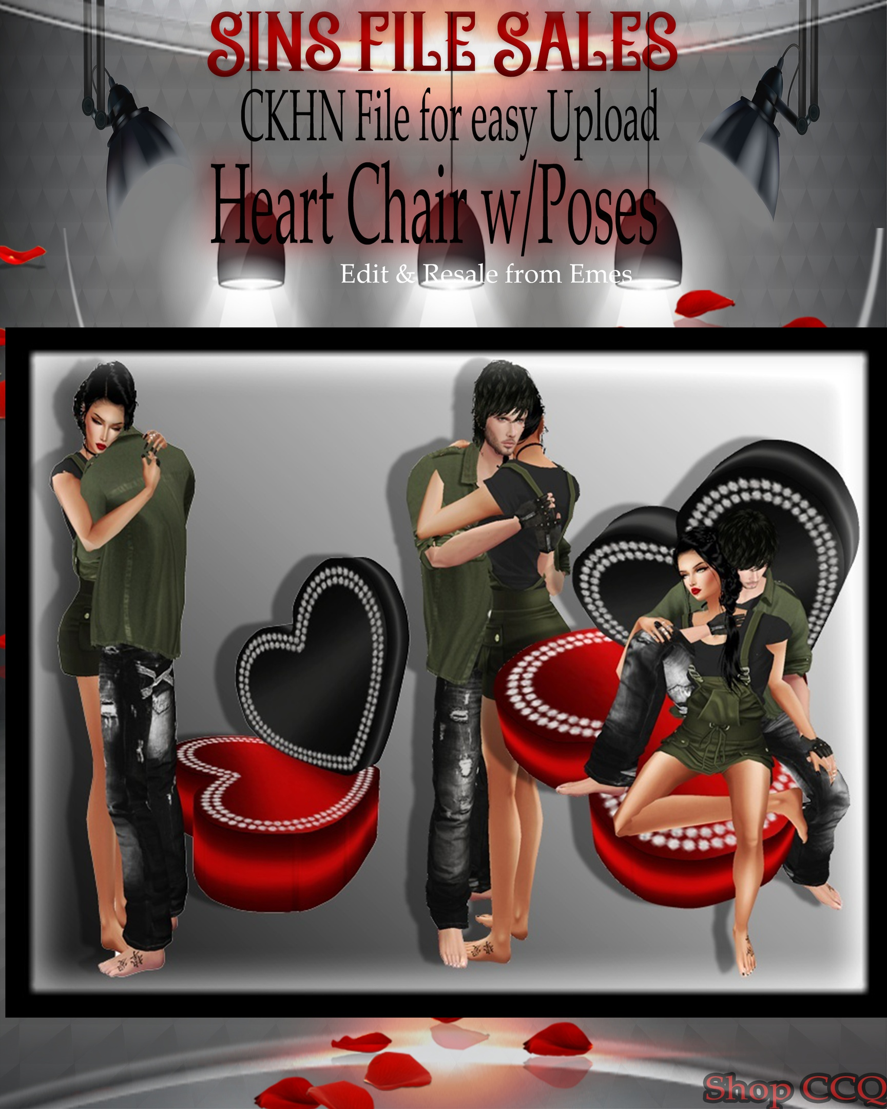 ♥ Heart Chair w/Couple Poses Mesh *CHKN File