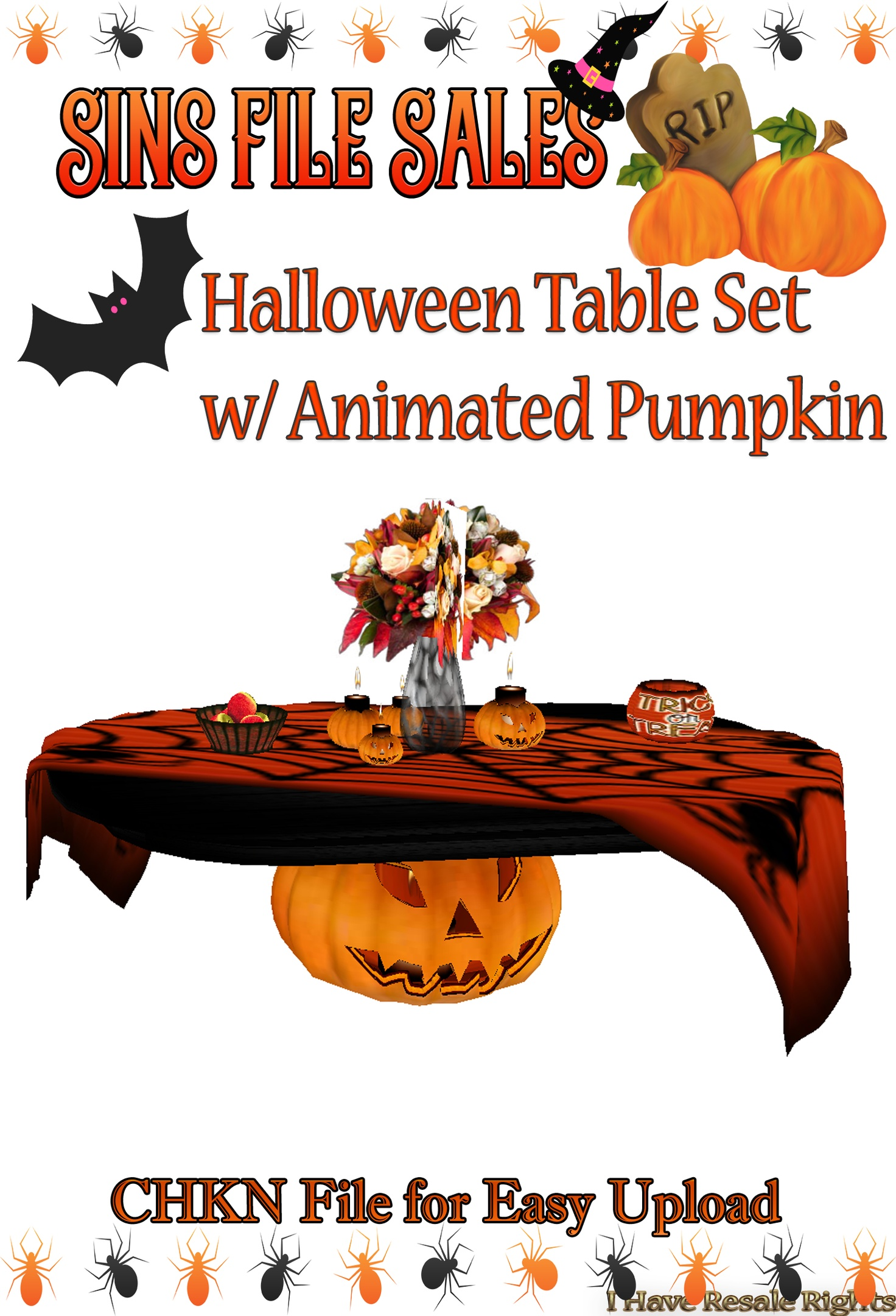 Halloween Table w/Animated Pumpkin