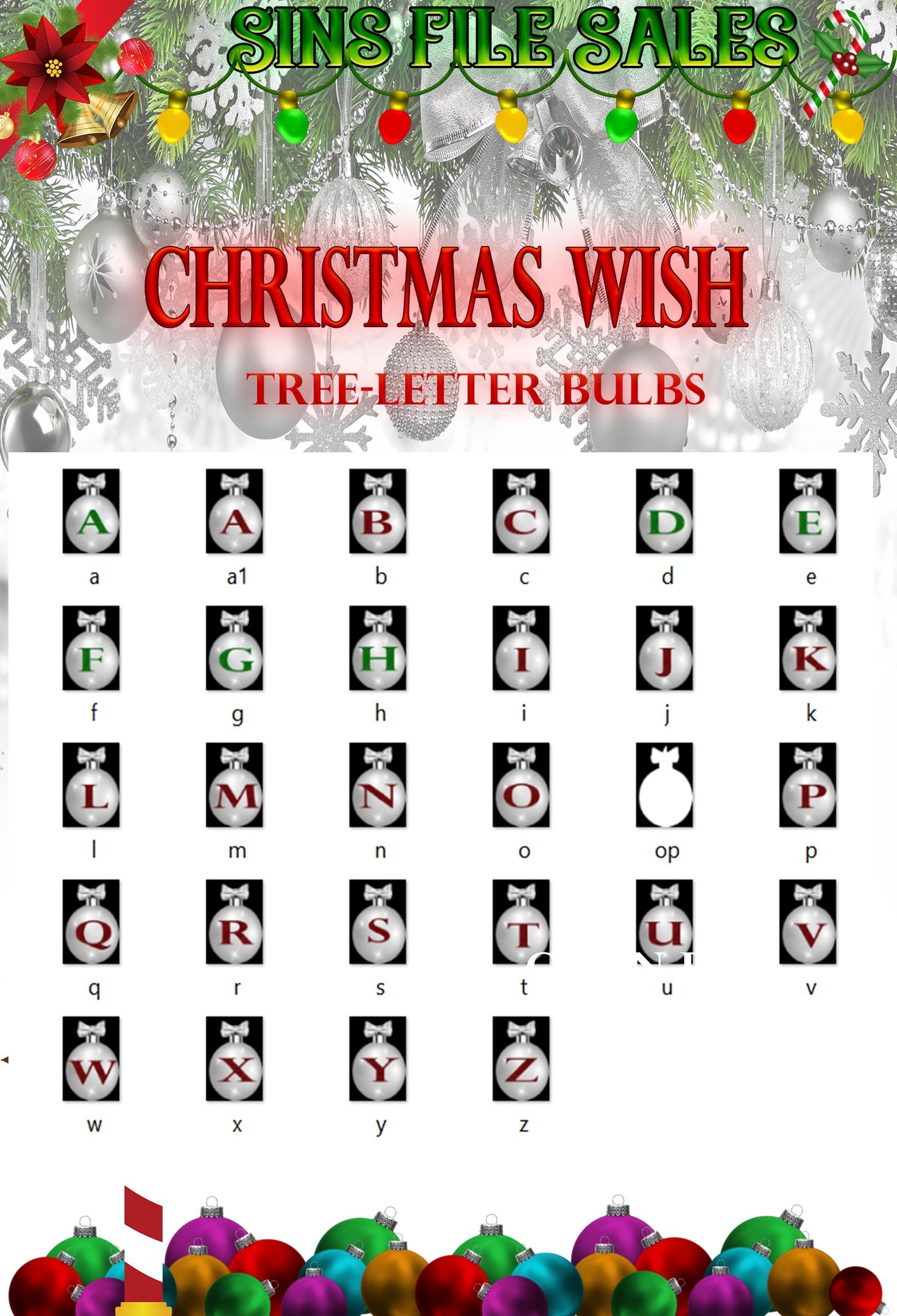 Christmas Wish- Letter Bulbs