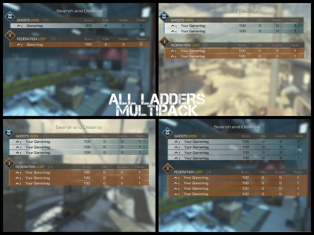 Call of Duty Ghosts - All GameBattles Ladders Multipack Fake Proof Templates