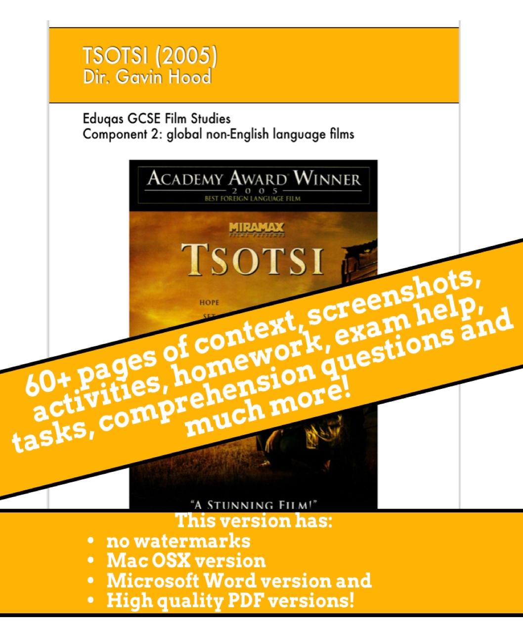 Tsotsi GCSE Film Studies Scheme of Work / revision guide / ebook - No watermarks