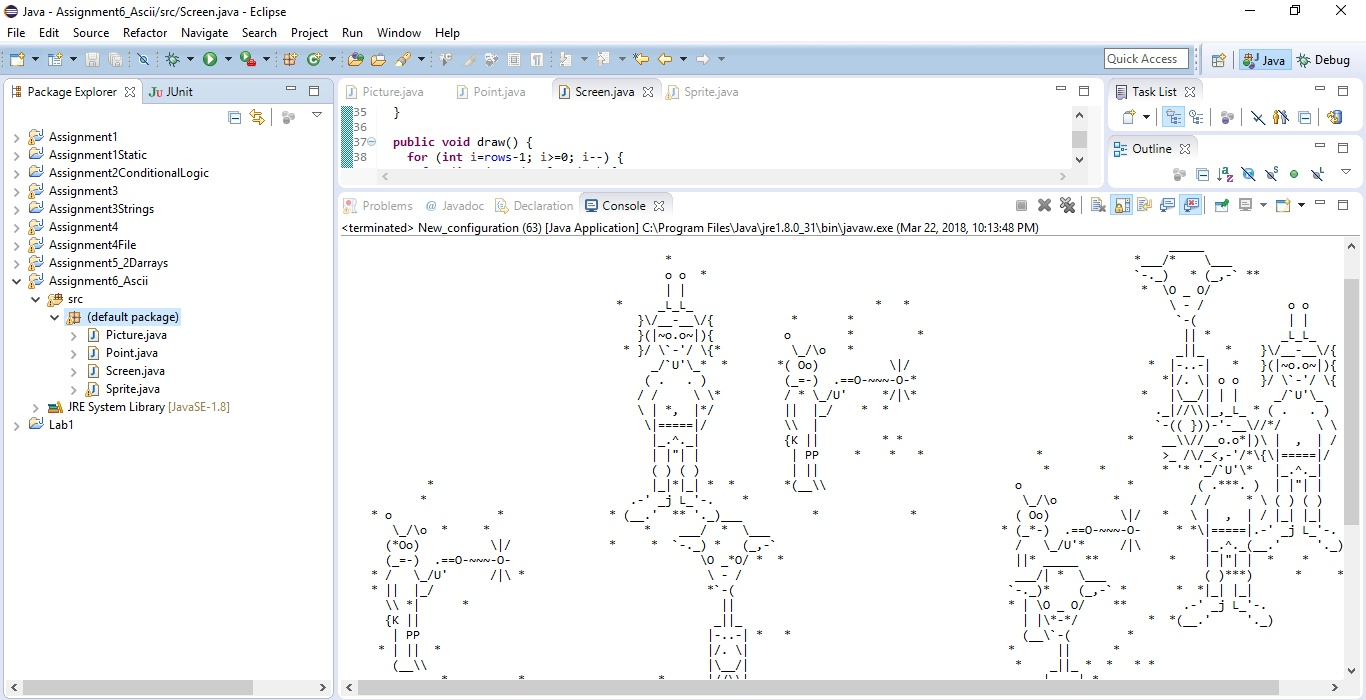 Program that draws a ascii text art picture to the console Solution