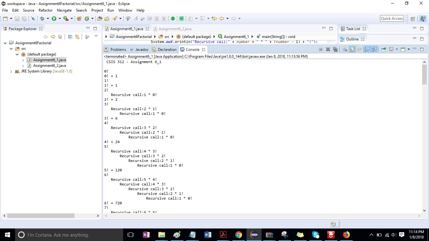 CSIS 312 Assignment 6 Factorial Calculator Solution