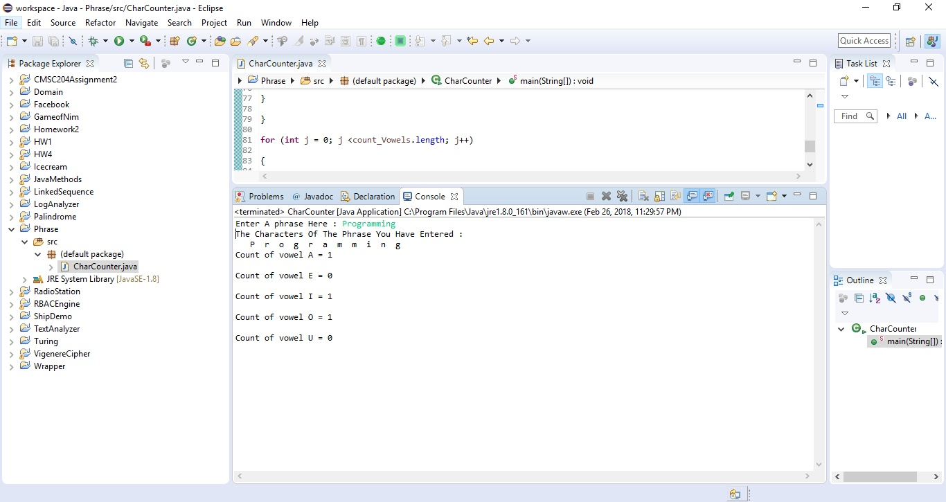 Java program that gets a phrase from the user