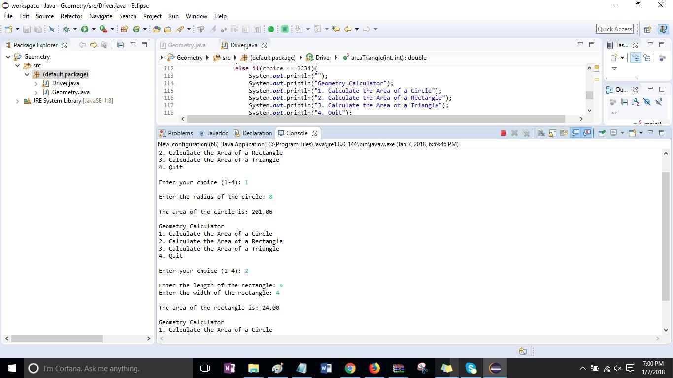 "Program 2 - Write a program titled ""YourLastName_Geometry""  Solution"