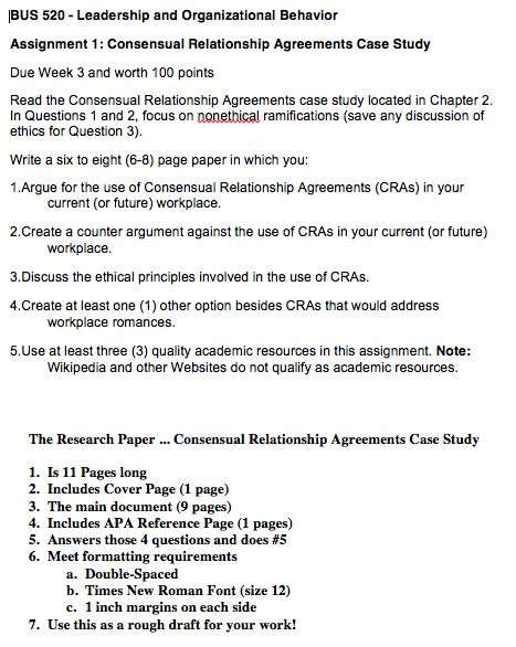 argument for the use of consensual relationship agreements cras essay Consensual relationship agreements case study argue for the use of consensual relationship agreements (cras) in your current (or future) workplace custom essay.